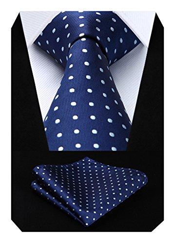Hisdern Extra lange Polka Dots Krawatte Taschentuch Herren Krawatte & Einstecktuch Set Navy blau