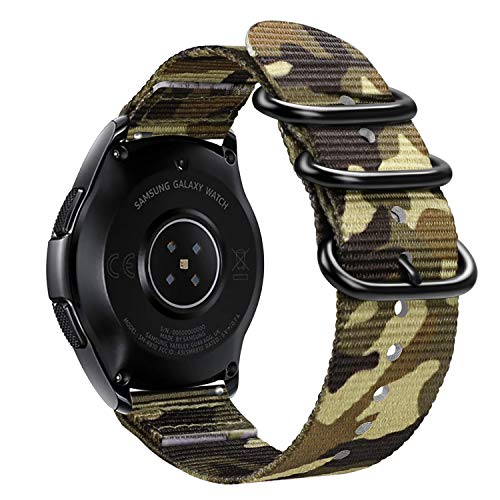 Fintie Armband kompatibel mit Galaxy Watch 42mm / Galaxy Watch Active/Huawei Watch 2 / Gear Sport/Gear S2 Classic - Nylon verstellbares Sport Ersatzband mit Edelstahlschnallen, Tarnen Grün