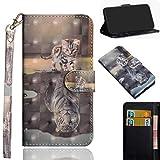 Samsung Galaxy J2 Core Hülle, SHUYIT Farbe Muster 3D PU Leder Tasche Cover Flip Wallet Case Bookcase Handyhülle Lederhülle Ständer Klapphülle Schutzhülle für Samsung Galaxy J2 Core 5.0