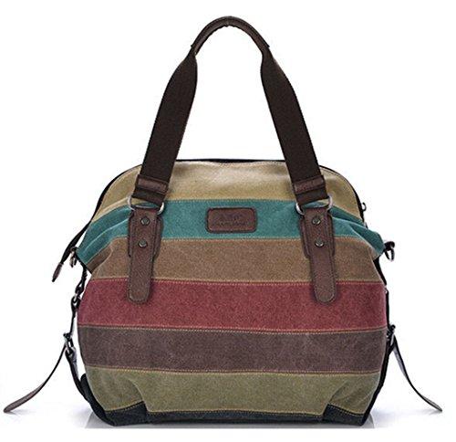 Tiny-COLOR BLOCK-Leinwand Umhängetasche Leder Damen Handtasche gestreift Large Kapazität Tote für Reisen, Mehrfarbig - Stripes C - Größe: (Tote Stripe Handtasche Pink)