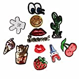 #5: Segolike 12 Pieces Applique Glitter Sequin Embroidery Patch Stick/Iron/Sew On Mixed Motif