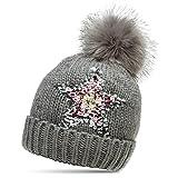 CASPAR MU161 Damen Strick Winter Mütze mit Pailletten Stern und großem Fellbommel, Farbe:grau;Größe:One Size