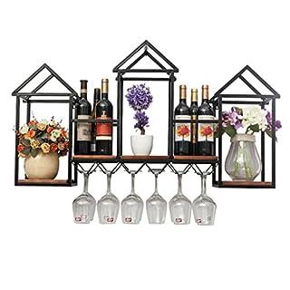 Yi Feng Regale Großes Wand-Wein-Regal-Metalleisen für Bar-Holz-Wein-Glas-Halter-Wein-Stand-an der Wand befestigter Wein-Kühler, der Wein-Glas-Regal-Wand-hängendes Würfel-Regal-Lagerregal hängt