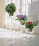 HAHAHA AH Portavasi in Ferro da interno e per giardino esterno Scaletta Portafiori Fioriera Decorativa, per 3 vasi, 75 x 66 x 28cm Bianco