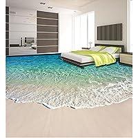 LHDLily 3D Wallpaper Mural Strand Schöne Küstenlandschaft 3D Boden  Wasserdicht Boden Mural Malerei 3D Bodenbelag Badezimmer
