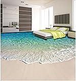 LHDLily 3D Wallpaper Mural Strand Schöne Küstenlandschaft 3D Boden Wasserdicht Boden Mural Malerei 3D Bodenbelag Badezimmer Dekoration 200Cmx150Cm