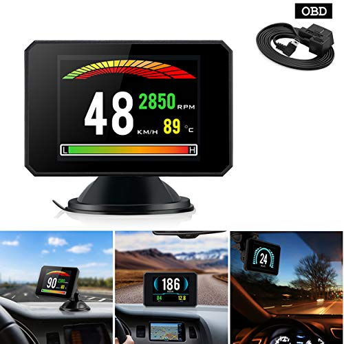 YUGUIYUN Auto HUD Head Up Display P16, EUOBD OBD2 Geschwindigkeitsmesser Tacho mit Geschwindigkeit Wassertemperatur Warnung Alarm Windschutzscheibenprojektor