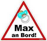 easydruck24de Auto-Aufkleber Baby an Bord, Max I kfz_224 I 16 x 14 cm groß I Junge Sticker mit Schnuller I Hinweis-Aufkleber Achtung Vorsicht I Wetterfest