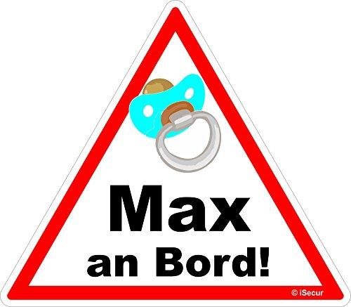 """Aufkleber """"Toddler an Board, Max, Junge"""", 16x14cm, Art. Nr. kfz_224_max, mit verschiedenen Kindernamen, außenklebend für Auto, LKW, Motorrad, Moped, Mofa, Cylinder, Fahrzeuge, UV- und witterungsbeständig, für Waschanlagen geeignet (Max)"""