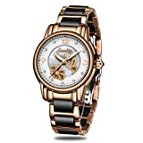 SUNKTA Rose Gold Keramik Damen Uhr Wasserdicht Analog Quarz Armbanduhr für Frauen Beiläufig Geschäft Kleid Schwarz Uhren