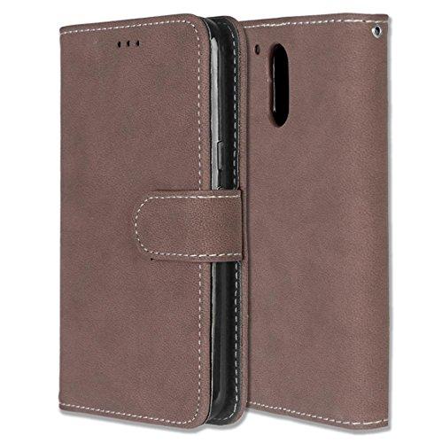 Motorola Moto G4 / G4 Plus Hülle, Chreey Matt Leder Tasche Retro Handyhülle Magnet Flip Case mit Kartenfach Geldbörse Schutzhülle Etui [Braun]