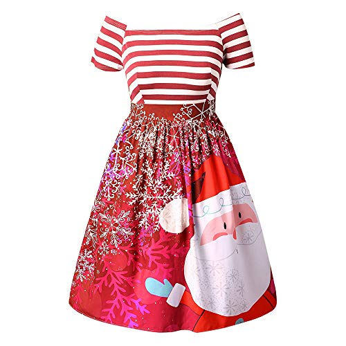OverDose Damen Frohe Weihnachten Karneval Stil Frauen Weihnachtsmann Striped Printed Dress Abend Prom Party Elegantes Tanz Dünnes Kostüm Swing Dress(X-A-Rot,34 DE/S CN)