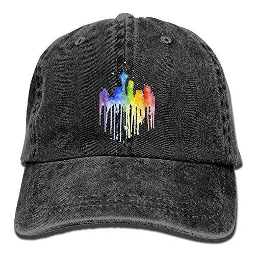 Hoswee Baseballmütze Hüte Kappe Seattle Skyline Rainbow Watercolor Plain Adjustable Cowboy Cap Denim Hat for Women and Men - Seattle Baseball-park