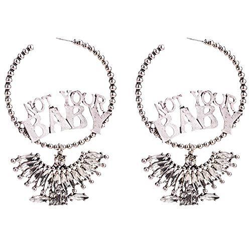 WEII Ohrringe Übertrieben Mit Diamanten Verkrustete Buchstaben Baby Fächerförmige Anhänger Ohrringe Mode Böhmische Dekorative Ohrringe,Silber,Einheitsgröße (Baby-diamant-ohrringe)
