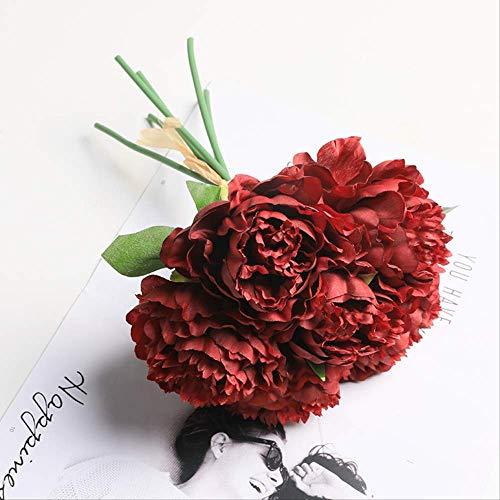 JHZHK 6 Köpfe Pfingstrose Bouquet künstliche Blumen Seide Pfingstrose Blumen Brautstrauß Herbst lebendige Kunstblumen für HochzeitBurgund (Brautsträuße Burgund)