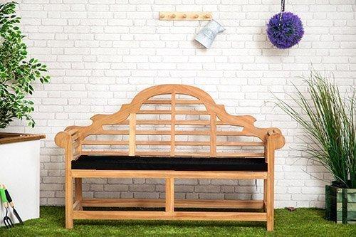 Gardenista Wasserabweisend Lutyens Gartenbank Kissen in schwarz-groß