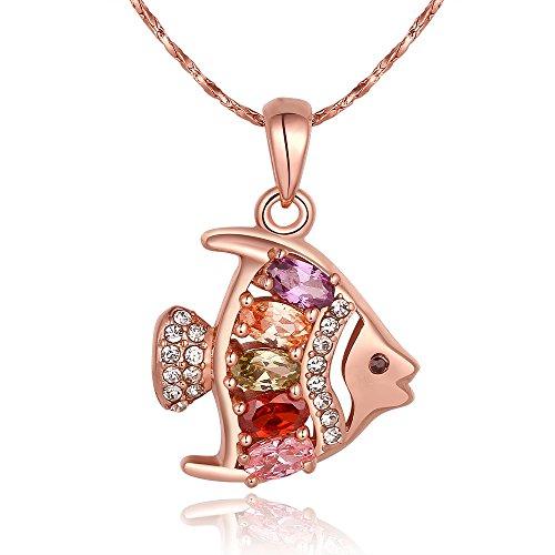 caleqi Stunning Stile Pesce Rosso Zircone collana placcato oro rosa collana donne (disponibile con catena lunghezza 45+ 5)