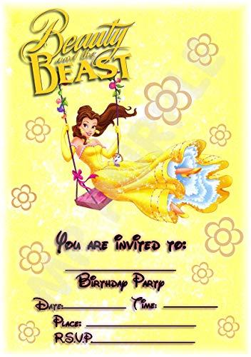 Disney Die Schöne und das Biest Geburtstagsparty-Einladungen - Belle Swinging Floral Portrait Design - Party-Zubehör (12 Stück) A5 Einladungen WITH Envelopes