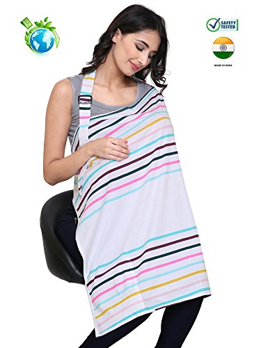 Feather Hug Mother's Cotton Nursing Cover Feeding Apron Cloak (Rainbow Stripes)