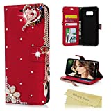 S8 Plus Case,Mavis's Diary PU Leather 3D Handmade Bling Crystal Diamonds Love Heart