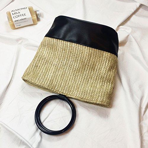 Weibliche Modefarbe Wassereimer Tasche Einfache Handtasche Stroh Beutelbeutelbeutel Feiertagsart Khaki
