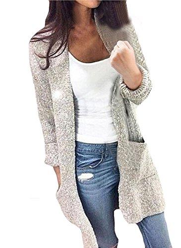 Mode Weiblich Freizeit Im Langen Abschnitt Lange Ärmel Einfarbig Tasche Strickmaterial Sweater Cardigan Mäntel (36/M)