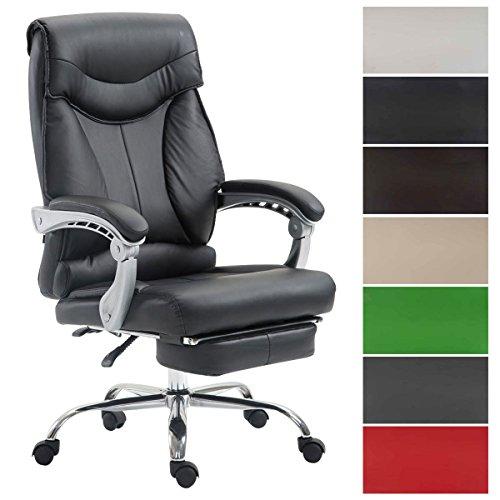 CLP Bürostuhl BIG IOWA mit Kunstlederbezug, Chefsessel mit Fußstütze, max. belastbar bis 136 kg, höhenverstellbar Schwarz