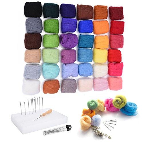 Schurwolle-set (Asiv 36 Farben Filzwolle Märchenwolle Roving filzen Nadelfilzen Starter Set für Nassfilzen und Trockenfilzen DIY Handwerk Deko)
