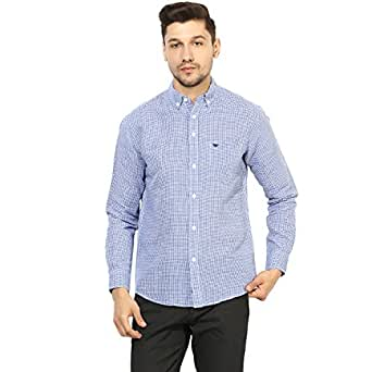 Red Tape Men's Solid Regular Fit Casual Shirt (RSF8914-S_Royal Blue)