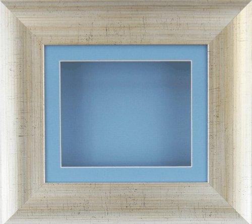 BabyRice Bilderrahmen, extra tief, für kleine Gegenstände in 2D/3D-silber-antik-Passepartout, Blau/Blau
