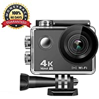 Anmade Action Camera 4k, 16MP WiFi Anti-Shake Waterproof Sports Camera with Hi-Tech Sensor, 170 Degree Ultra Wide Angle 2.0 Inch LCD Screen, Rechargeable Battery, and Accessories