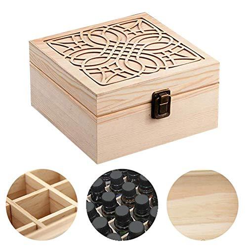 waterfail Flasche mit ätherischem Öl aus Holz Aufbewahrungsbox aus Holz - 25-Fach-Box für ätherische Öle - Geeignet für Liebhaber ätherischer Öle - Holz-flaschen-anzeige