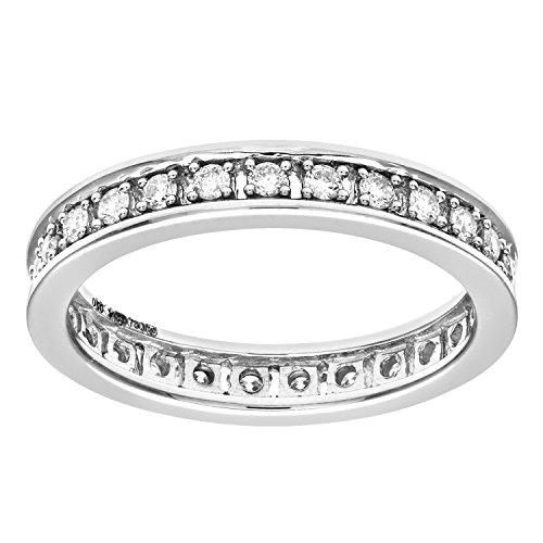 Naava - PR09696 18KW-O - Anillo de mujer de oro blanco (18k) con 27 diamantes (talla: 15.5)