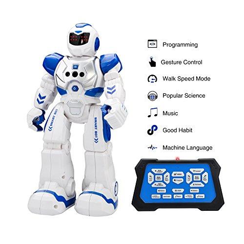 Kingtoys Intelligente Roboter-Spielzeug Ferngesteuerter mit Gestensteuerung, Infrarot-Sender Fernbedienung ermöglicht Singen Tanzen USB Lade für Kinder Geburtstagsgeschenk (Blau)
