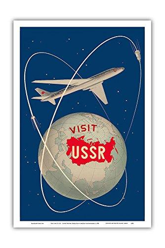 Pacifica Island Art - Besuchen Sie die U.S.S.R. - Sowjetischen Sputnik-Satelliten - Antonov Flugzeug - Retro Weltreise Plakat von Anatoliy Antonchenko c.1958 - Kunstdruck 31 x 46 cm -