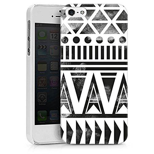 Apple iPhone X Silikon Hülle Case Schutzhülle Ethno Modern Schwarz-Weiß Hard Case weiß