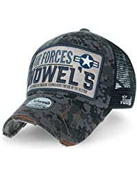 ililily Howels Camouflage Distressed Baseball Cap Air Forces Mesh Trucker Hat
