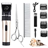 Cosylife Pet Grooming Clippers,Dog Shaver Cat Clippers,Low Noise Rechargeable Cordless Pet Clippers,Dog Hair
