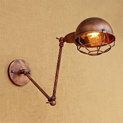 DENGPAOX Vintage Industrial Style Messing Wandleuchte Industrial Metall Wandleuchte Lampenschirm mit 2 Abschnitt Verstellbare Lange Schwenkarm Wand Leuchten E27 Lampe Sockel, 20+20cm