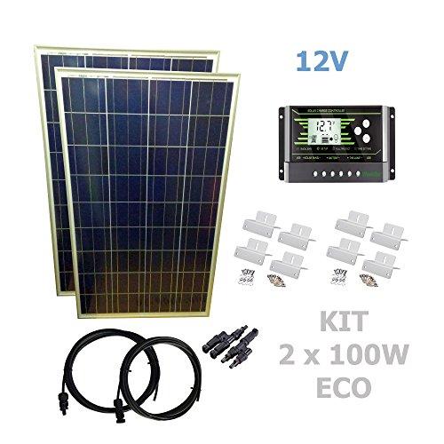 Kit 200W ECO 12V panel solar 2X100WComposición del Kit Solar:2 X Panel solar fotovoltaico 100W 12VKit para paneles solares KIT C6 hasta 320W 12VPar de conectores en Y MC4 para conexión de 2 paneles solaresEspecificaciones técnicas:2 X Panel solar fo...