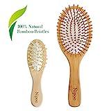 Nipoo Natürliche Haarbürste Holz + Kostenlose Mini Reise bürste - Eco-Friendly Bambus Holz Borste Deadangling Paddel Haarbürste für Frauen Männer und Kinder - Reduzieren Frizz und Massage Kopfhaut