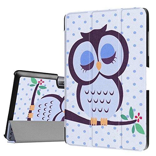 DETUOSI Acer Iconia One Tab 10 B3-A30 10.1 Zoll Hülle, Ultra Slim PU Lederhülle zubehör Schutzhülle Flip Tasche für Acer Iconia One 10 (B3-A30) 25,7cm Schale mit Holder Stand (Eule)