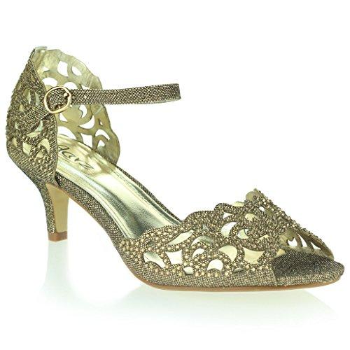 Femmes Dames Orteil Ouvert Sangle De Cheville Diamante Talon moyen Soirée Mariage Sandale Chaussures Taille Marron
