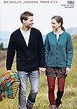Sirdar (Hayfield) Aran Tweed Ladies & Men's Cardigans Knitting Pattern 7052