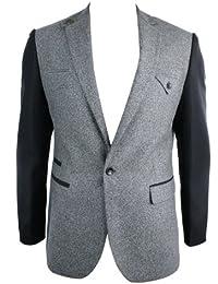 Giacca Elegante in Lana da Uomo Blazer Aderente in Tweed Grigio con Maniche  Nere c1556c91672