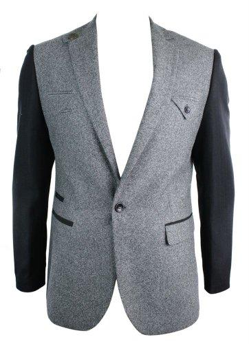 Veste Homme Blazer rétro 1 Bouton Coupe Slim cintrée Gris Noir Tweed