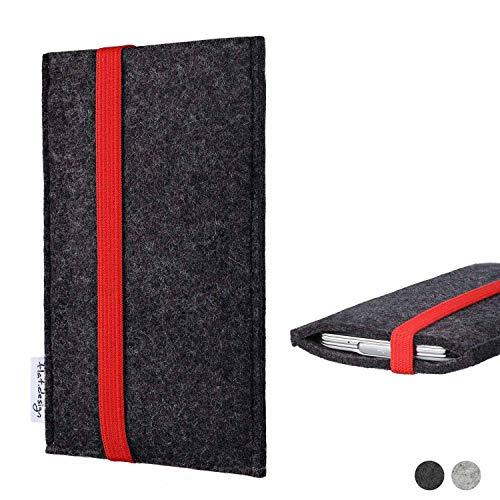 flat.design Handy Tasche Coimbra für Shift Shift6m passgenau Filz Schutz Hülle Case anthrazit rot fair