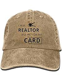 KAKICSA Personality Caps Hats Real Estate Realtor I m A Realtor Ask Me  Unisex Washed Twill Cotton Baseball Cap… 7110228d28c