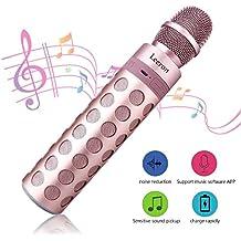 Micrófono Inalámbrico de mano Portátil Bluetooth Altavoz Incorporado para Karaoke con iPhone Android Smartphone or PC, Color Rosa oro