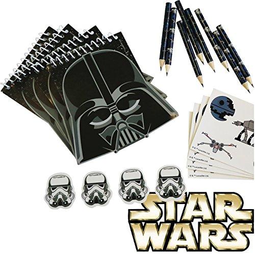 Lot de 16 pièces Star Wars pour anniversaire d'enfant ou fête à thème - Stylos, gommes, blocs d'écriture
